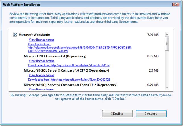 дополнительные компоненты для WebMatrix